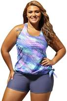 FunnnyRabbbit Women Plus Size Two Piece Bikini Swimsuit Cover The Belly Retro Tankini Swimwear
