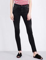 AG Jeans Studded-detail skinny high-rise stretch-denim jeans