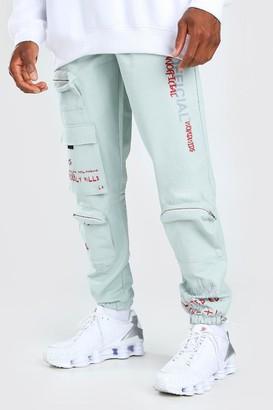 boohoo Mens Green MAN Official Graffiti Print Cargo Trouser, Green