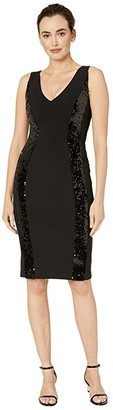 Vince Camuto Sleeveless Bodycon w/ Sequin Side Panel (Black) Women's Dress