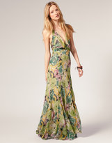 Harlequin Halter Maxi Dress In Floral Silk Chiffon