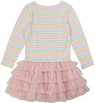 Billieblush Girls Long Sleeve Stripe Tutu Dress - Multi