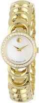 Movado Women's 0606467 Rondiro Mini Gold-Plated Diamond Bezel Black Museum Dial Watch