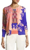 Etro Marrakech-Print Stampa Knit Cardigan, Orange/Purple