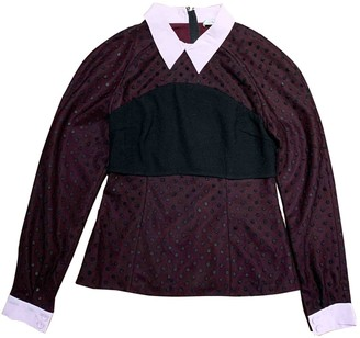 Erdem Burgundy Cotton Tops