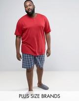 Duke Plus Pyjamas With Check Shorts In Dark Red