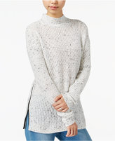 Bar III Faux-Leather-Trim Mock-Neck Sweater, Only at Macy's