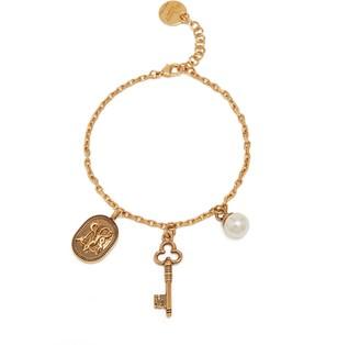 Mulberry Blazon Pendant Bracelet Antique Gold