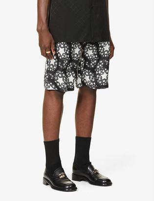 Gucci Star-print elasticated-waistband silk-twill shorts
