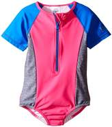 Speedo Kids Short Sleeve Zip One-Piece Swimsuit (Big Kids)