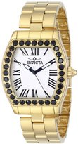 Invicta Women's 14530 Angel White Textured Dial 18k Gold Ion-Plated Stainless Steel Watch