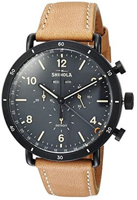 Shinola Detroit The Canfield Sport Chronograph Calendar 45mm - 20089891 (Natural Leather Strap/Cool Gray Dial) Watches