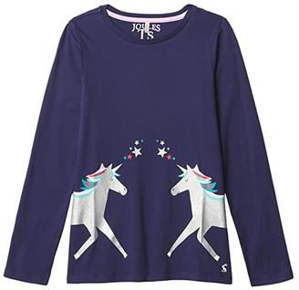 Joules Kids Bessie T-Shirt (Toddler/Little Kids/Big Kids) (Navy Unicorn) Girl's Clothing