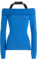 Moschino Virgin Wool Bardot Pullover with Buckled Strap