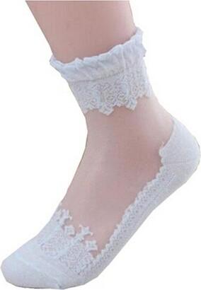 Yingwei Women Lace Ruffle Ankle Sock Ultrathin Sheer Breathable Elastic Shoe Sock (Blue)