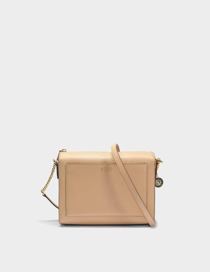 DKNY Bryant Medium Box Crossbody Bag in Egg Nog Sutton Textured Leather