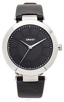 DKNY Women's 'Stanhope' Quartz Stainless Steel and Black Leather Casual Watch (Model: NY2465)
