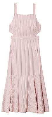 Tibi Women's Striped Twill Cut-Out Midi Dress
