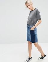 Asos Denim Deconstructed Mini Pelmet Skirt