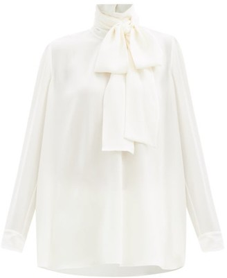 Valentino Pussy-bow Silk-georgette Blouse - Ivory