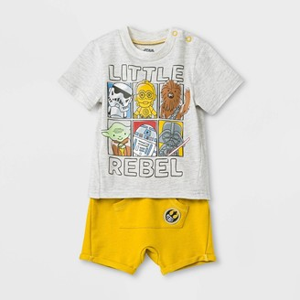 Lucasfilm Baby Boys' 2pc Star Wars T-Shirt and Shorts Set - 6-9M