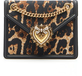 Dolce & Gabbana Embellished Printed Leather Shoulder Bag