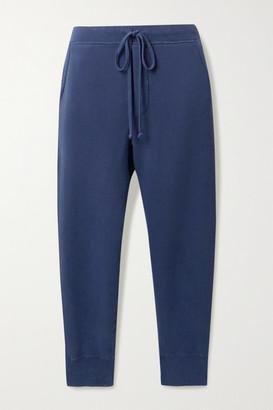 Nili Lotan Nolan Cropped Distressed Cotton-jersey Track Pants - Storm blue