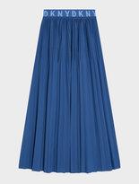 DKNY Pure Pleated Skirt With Elastic Logo Waistband