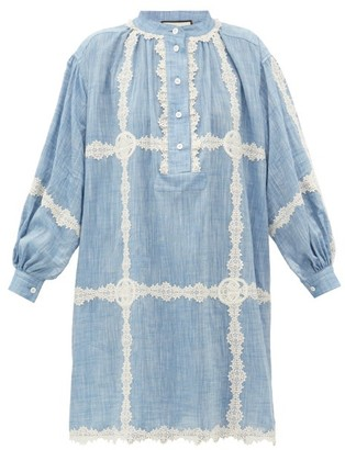 Gucci Gg Lace-trimmed Cotton-chambray Dress - Womens - Blue