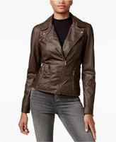 Celebrity Pink Faux-Leather Moto Jacket