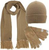 Luxury Divas Ribbed Knit 3 Piece Hat Scarf & Gloves Set