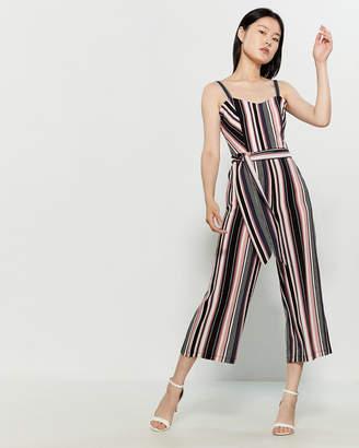 Bebe Sleeveless Striped Crop Jumpsuit
