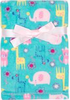 Cutie Pie Baby 30'' x 32'' Green & Pink Animals Velboa Stroller Blanket & Hanger