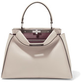 Fendi Peekaboo Medium Leather Tote - Stone