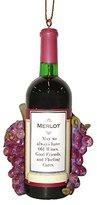 "Kurt Adler 4.25"" Vintage Tuscan Winery Merlot Wine Bottle and Grapes Christmas Ornament"