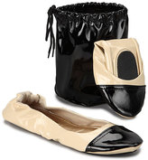 CitySlips Black Patent Contrast-Toe Foldable Ballet Flat & Carrying Case