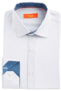 Tallia Men's Slim-Fit No-Iron Performance Stretch White Dot Dress Shirt
