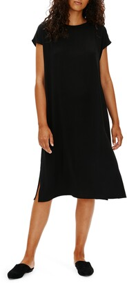 Eileen Fisher Silk Georgette Swing Dress