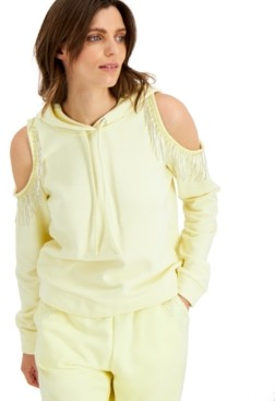 INC International Concepts Inc Cold-Shoulder Fringe Hoodie, Created for Macy's