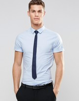 Asos Skinny Shirt In Blue With Navy Tie