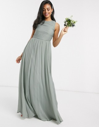 ASOS DESIGN Bridesmaid maxi dress with soft pleated bodice