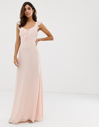 Maids To Measure Maids to Measure bridesmaid maxi dress with button front detail and tie back-Pink