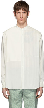 Jil Sander Off-White Silk Striped Tara Contrast Patch Shirt