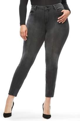 Good American Good Legs Pintuck Skinny Jeans (Black 035) (Regular & Plus Size)