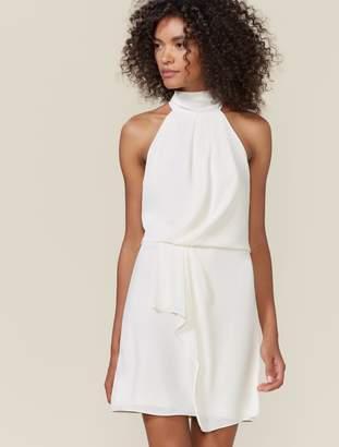 Halston Draped Mock Neck Dress