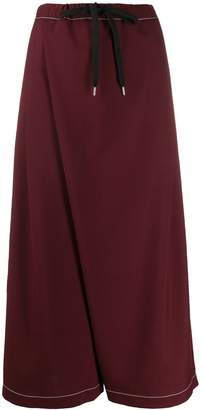 Marni contrast stitching wrap loose trousers