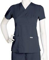 Grey's Anatomy Scrubs - Greys Anatomy by Barco Uniforms Junior Fit 3 Pocket Mock Wrap Scrub Top