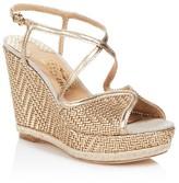 Salvatore Ferragamo Enrica Metallic Leather Platform Wedge Sandals