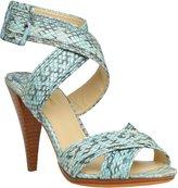 Snakeskin Criss-Cross Stacked Heel Sandals