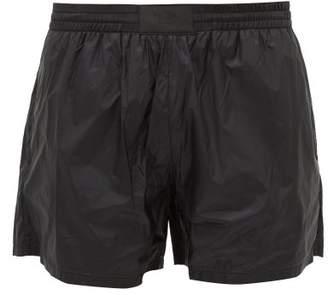 Prada Applique Logo Patch Ripstop Swim Shorts - Mens - Black